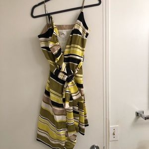 Milly green navy striped wrap dress size 6